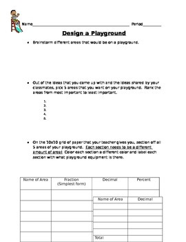 Design a Playground!  Application of Fractions, Decimals,