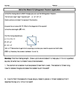 Application of Pythagorean Theorem Skill of the Week (WK 13)