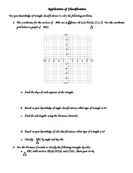 Application of Triangle Classification with Geometry, distance, and slope