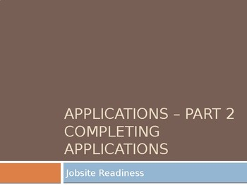 Applications - Part 2 - Completing Applications