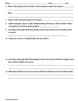 Applications for Writing and Solving Systems of Equations Worksheet