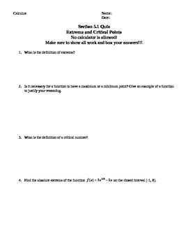 Applications of Derivates Test and Quiz and Review Pack