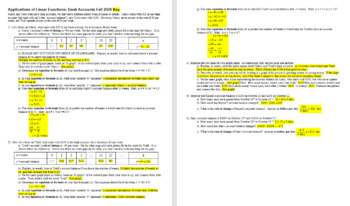 Applications of Linear Functions: Bank Accounts Fall 2008 with Key (Editable)