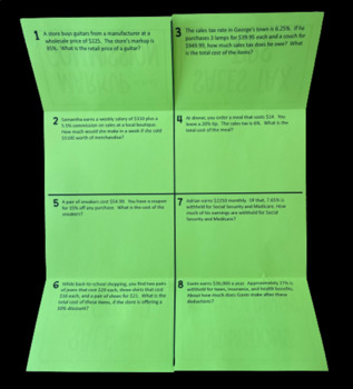 Applications of Percents (Foldable)