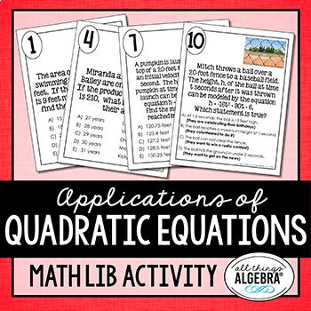 Applications of Quadratic Equations: Math Lib Activity
