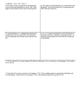 Applications of Quadratic Functions Part 1 Jonnard Fall 2015 (Editable)
