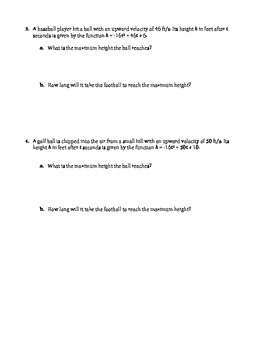 Applications of Quadratic Functions Worksheet