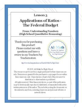 Applications of Ratios - The Federal Budget (High-school Quantitative Reasoning)