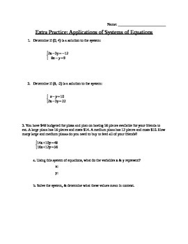 Applications of Systems of Equations Note Guide