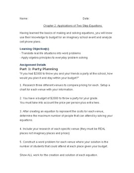Applications of Two Step Equation Word Problems