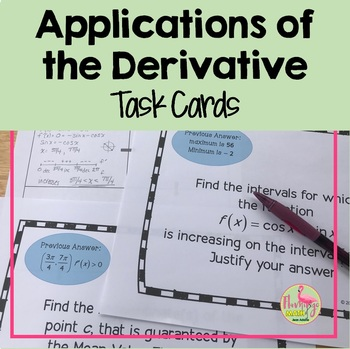 Calculus: Applications of the Derivative Scavenger Hunt Activity