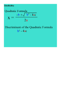 Applications of the Discriminant SmartBoard Lesson