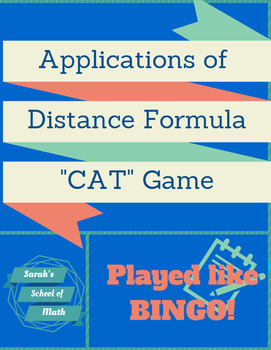 """Applications of the Distance Formula """"CAT"""" Game (played like Bingo)"""