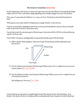 Applications of the Pythagorean Theorem: The Great Ice Cream Race