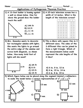 Worksheets Pythagorean Theorem Problems Worksheet pythagorean theorem word problem worksheet delibertad applications of the pythago by jessica eaton teachers pay problems