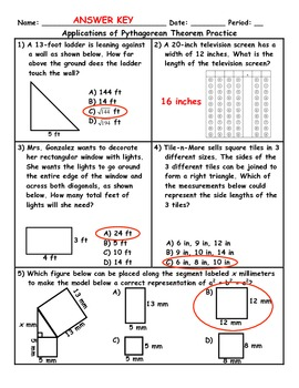 Applications of the Pythagorean Theorem Word Problems PLUS Spiral review