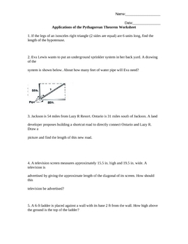 applications of the pythagorean theorem worksheet word problems. Black Bedroom Furniture Sets. Home Design Ideas