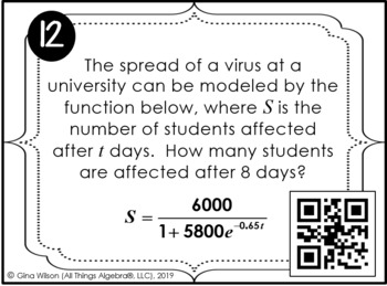 Applications with Exponential Functions Task Cards
