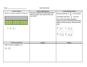 Applications with Fractions Morning Work