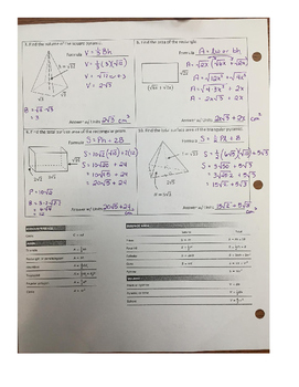 Applications with Radicals Area Volume Surface Area