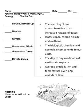 Applied Biology Unit 2 Ecology Vocab and Quizzes