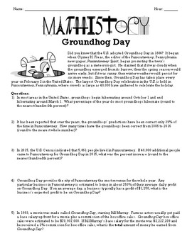 Fun Groundhog Day Activity! Applied Math & Pre-Algebra: Percent & Commission
