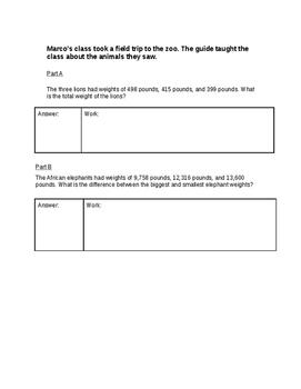 Applied Math Word Problem Constructive Response