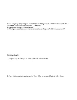 Applied Mathematics 10 Ontario ( MFM2P ) Review Questions/Practice Exam