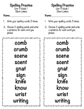 Applied Spelling Tests and Practice (Unit 4)