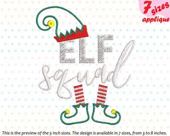 Applique Elf SQUAD Christmas Hat Designs for Embroidery santa elf squad 26a