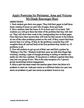 5th Grade Use Formulas for Perimeter Area Volume Scavenger Hunt