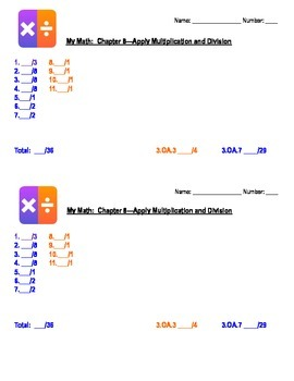 Apply Multiplication and Division 3rd Grade Assessment