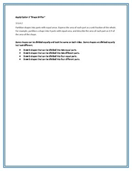Apply Options for math standard 3.G.A.2