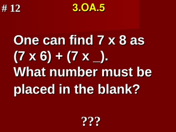 Apply Properties of Operations 3.OA.5 Fill In Blank Assessment