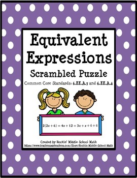 Generate Equivalent Expressions using Math Properties - CC