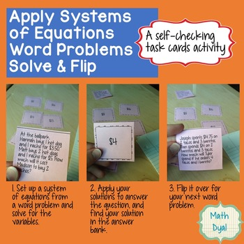 Apply Systems of Equations Word Problems Solve & Flip