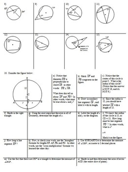 Applying Circle Formulas: Chords Secants Tangents Spring 2013 with Answer Key