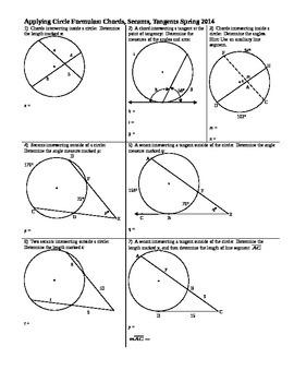 Applying Circle Formulas Chords Secants Tangents Spring 2014