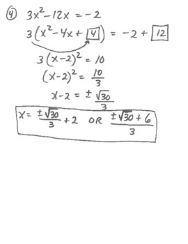 "Applying ""Completing the Square"" with Quadratic Equations and Functions"