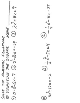 "Applying ""Completing the Square"" with Quadratic Equations"