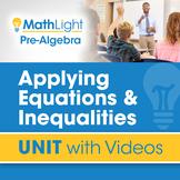 Applying Equations & Inequalities | Pre Algebra Unit with Videos
