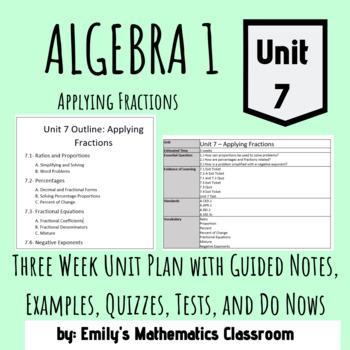 Applying Fractions (Algebra 1 - Unit 7 Bundled Lessons)