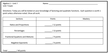 Applying Fractions Review Sheet and Unit Test