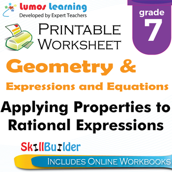 Applying Properties to Rational Expressions Printable Worksheet, Grade 7