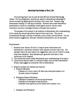 Applying Psychology to Your Life (Writing Project)