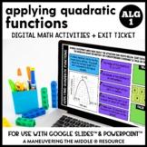Applying Quadratic Functions Digital Math Activity
