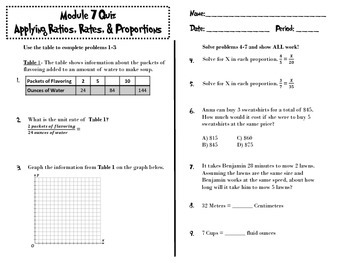 Applying Ratios, Rates, and Proportions Quiz