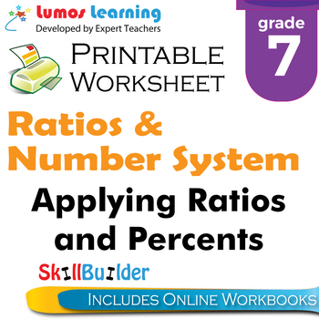 Applying Ratios and Percents Printable Worksheet, Grade 7
