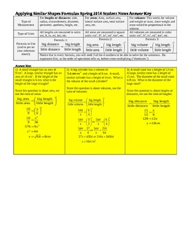 Applying Similar Shapes Formulas Spring 2014 Student Notes with Answer Key