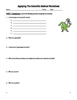 Applying The Scientific Method Worksheet